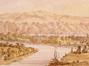 Seth Eastman's watercolor of Pilot Knob dates from the 1840's.  (Courtesy of Minnesota Historical Society)