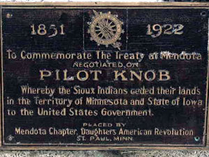 Dakota (or Sioux) bands relinquished their claim to lands west of the Mississippi River in the 1851 treaty negotiated on Pilot Knob. (MPR Photo/William Wilcoxen)