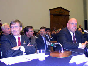 Major League Baseball Commisioner Bud Selig, right, and Gov. Jesse Ventura prepare to testify before a congressional committee considering stripping baseball of its antitrust exemption in November 2001.V  (MPR Photo/Michael Khoo)
