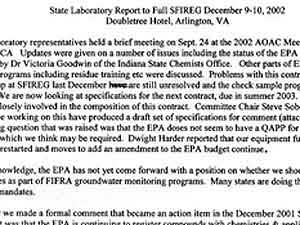 """As co-regulators with the EPA, we asked that the EPA acknowledge (and thereafter financially support) the fact that many new active ingredients challenge the current capabilities of SLA labs. Without this support, future monitoring and misuse actions are seriously in peril, and may not be achievable with current technologies.""  (MPR Photo/Dan Gunderson)"