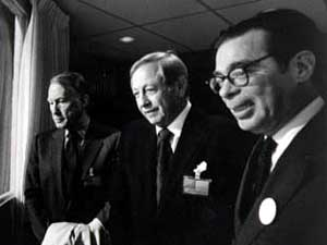 Frank Stanton, far left, along with William Paley, CEO and founder of CBS, and Richard Salant, president of CBS News, on election night 1972. (Photo courtesy of CBS)