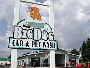 Big Dog Car and Pet Wash is one of several self-service pet washing outlets in Minnesota. The trend started in California. (MPR Photo/Chris Julin)