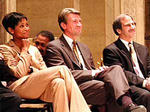 Minneapolis Mayor R.T. Rybak, center, attended the ceremony along with Laysha Ward of the Target Corp., (left), and Phillip Davis, president of the Minneapolis Community and  Technical College.  (MPR Photo/Marisa Helms)