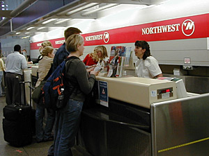 Northwest Airlines says it no longer shares passenger information with the government, but doing so was appropriate when it shared data with NASA for an aviation security study in 2001. (MPR File Photo)