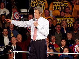 """We are here to mark the beginning of the end of the Bush presidency,"" Sen. John Kerry, the Democratic front-runner, promised a capacity crowd of about 2,400 at a Macalester College field house.  (MPR Photo/Michael Khoo)"