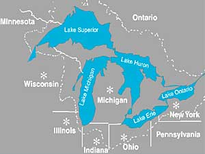 MPR Compact Seeks To Ban Great Lakes Water Diversion - Map of the us great lakes