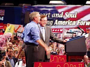 Aug. 18: St. Paul, Minnesota. Bush is introduced by St. Paul Mayor Randy Kelly at a rally at the Xcel Energy Center. After the event, Bush flew to his ranch in Crawford, Texas. (MPR file photo)