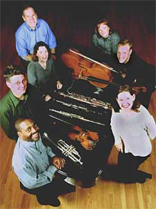 The Prospect Park Players are William Eddins, piano; Angela Fuller, violin; Jennifer Gerth, clarinet; Joe Johnson, cello; Norbert Nielubowski, bassoon; Claudia White, flute; and Don Sipe, trumpet. (Photo courtesy of Prospect Park Players)