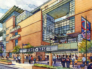 Artist sketch of the proposed new ballpark from street level. (Minnesota Twins)