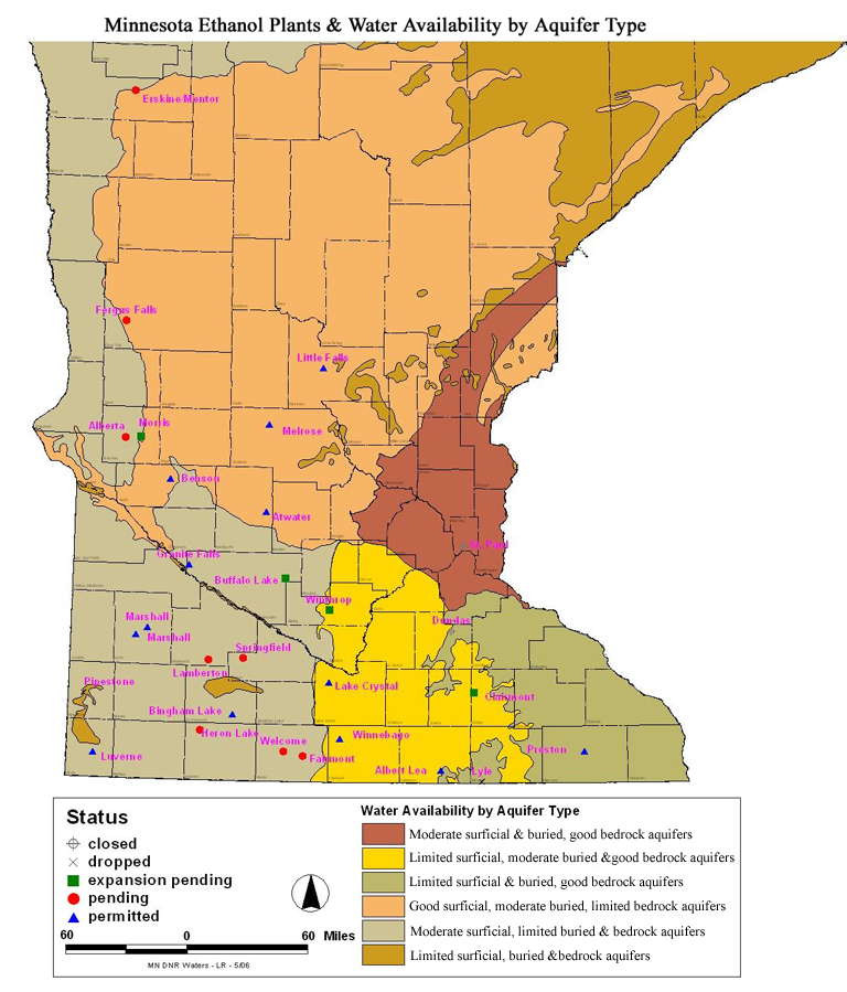 Minnesota Ethanol Plants and Water Availability by Aquifer Type on mn stream maps, mn lake maps, mn watershed maps, mn glacier maps, mn soil maps, mn water maps, mn river maps, mn elevation maps, mn climate maps,